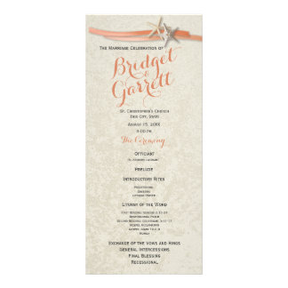 Coral Beach Starfish and Ribbon Wedding Program Rack Card