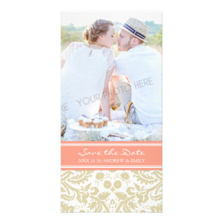 Coral Beige Save the Date Wedding Photo Cards
