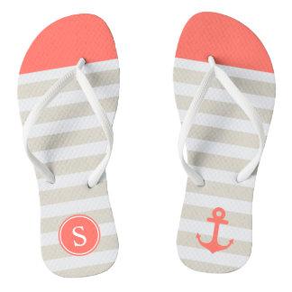 Coral Beige Strips - Cute Nautical Anchor Monogram Thongs