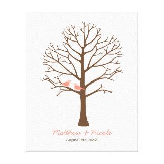 Coral Birds Brown Fingerprint Tree Wedding Canvas Print