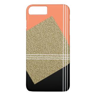 Coral, Black and Gold Square iPhone 8 Plus/7 Plus Case