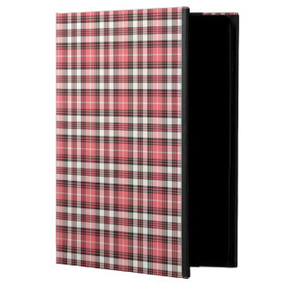 Coral, Black and White Girly Plaid iPad Air Case