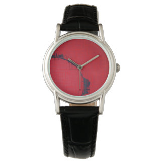 Coral black Digital Half Circle Abstract Watch