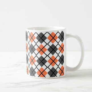 Coral, Black, Grey on White Argyle Print Mug