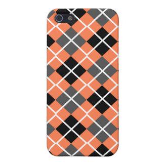 Coral, Black, Grey & White Argyle iPhone 4 Case