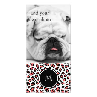 Coral Black Leopard Animal Print with Monogram Personalized Photo Card
