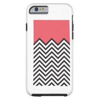 Coral, Black & White Chevron Tough iPhone 6 Case