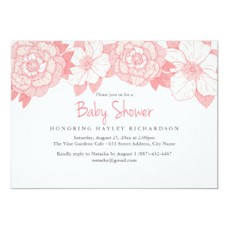 Coral Blooming Baby Shower Invitation