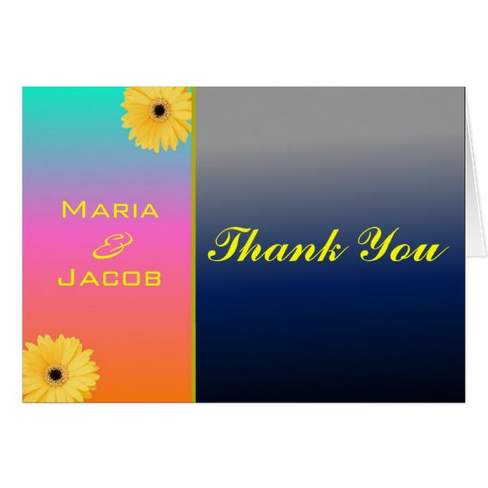 Coral Blue Daisy Personal Thank You Notecard
