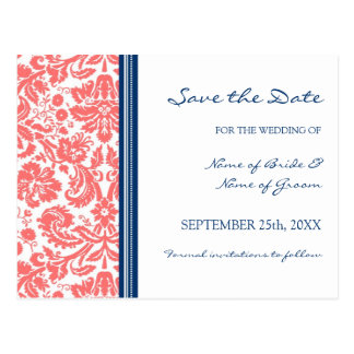 Coral Blue Damask Save the Date Wedding Postcard