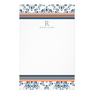 Coral Blue Gray White Wedding Monogram Stationery