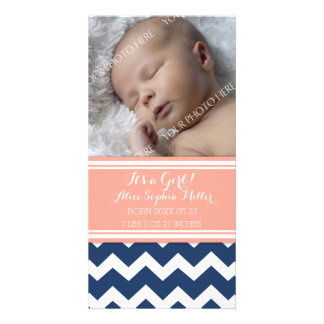 Coral Blue Photo New Baby Birth Announcement Photo Card