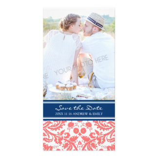 Coral Blue Save the Date Wedding Photo Cards