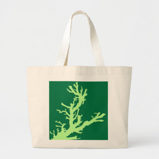 Coral branch - lime and emerald green canvas bags