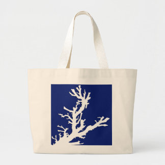 Coral branch - navy blue and white canvas bags