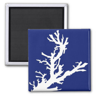 Coral branch - navy blue and white square magnet