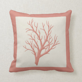 Coral branch throw pillow