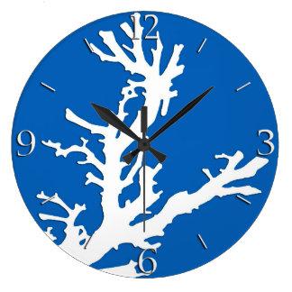 Coral branch - white on cobalt blue clocks