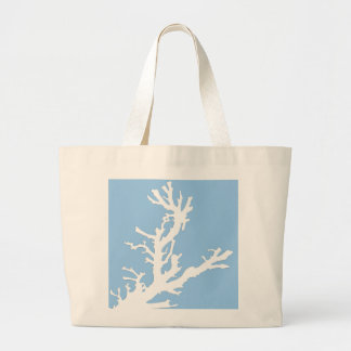 Coral branch - white on pale blue jumbo tote bag