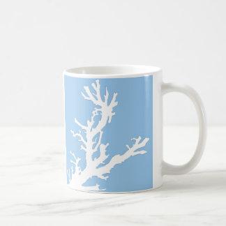 Coral branch - white on pale blue coffee mug