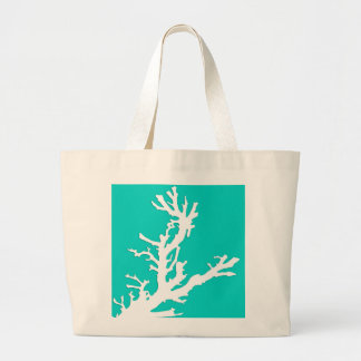 Coral branch - white on turquoise bag