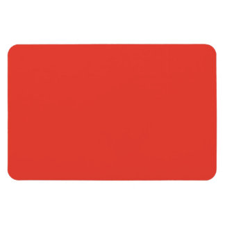 Coral Bright Red Orange Solid Color Background Rectangular Magnet