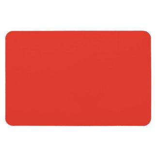 Coral Bright Red Orange Solid Color Background Rectangular Photo Magnet