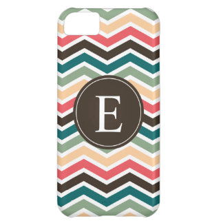 Coral Brown Teal Chevron Monogram iPhone 5C Case