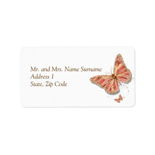 Coral butterfly theme wedding address label