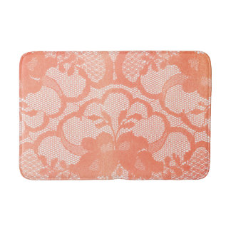 Coral Candy Rose Lace Glam White Luxury Glam Bath Mat