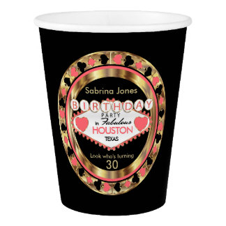 Coral Casino Poker Chip Birthday Party Paper Cup