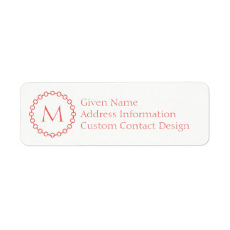 Coral Chain Link Ring Circle Monogram Return Address Label