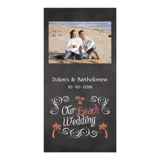 Coral Chalkboard Script Beach Wedding Custom Photo Card
