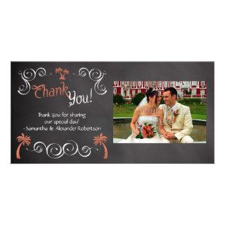 Coral Chalkboard Script Beach Wedding Thank You Photo Greeting Card