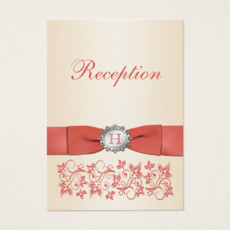 Coral Champagne Floral Wedding Reception Card