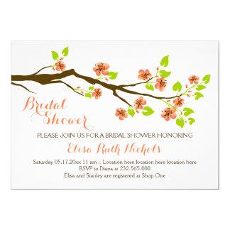 Coral cherry blossoms spring wedding bridal shower 13 cm x 18 cm invitation card