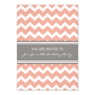 Coral Chevron 18th Birthday Party Invitations