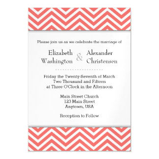 Coral Chevron Magnetic Wedding Invitation Magnetic Invitations