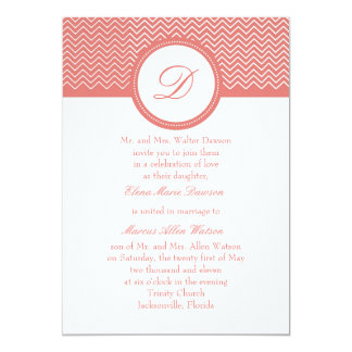 Coral Chevron Monogram Wedding Invitation