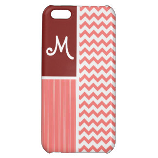Coral Chevron Pattern iPhone 5C Cases