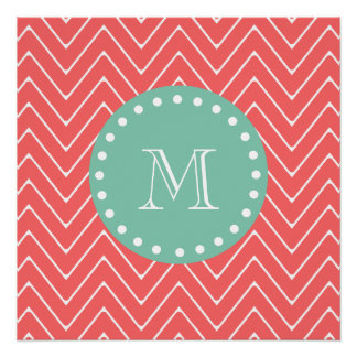 Coral Chevron Pattern | Mint Green Monogram