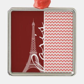 Coral Chevron Pattern; Paris Ornaments