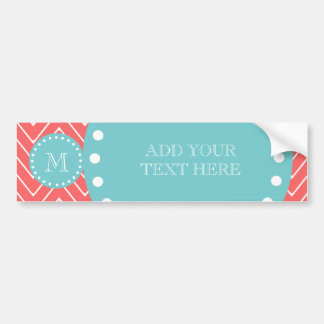 Coral Chevron Pattern | Teal Monogram Bumper Stickers