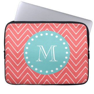 Coral Chevron Pattern | Teal Monogram Laptop Sleeves