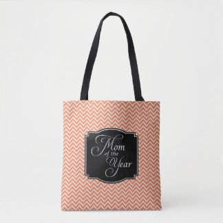 Coral Chevron Stripes Mom of the Year Tote Bag