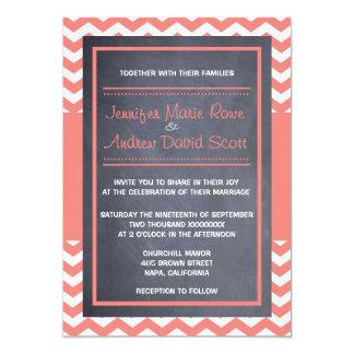 Coral Chevron Wedding Invitation