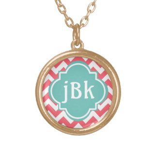 Coral Chevron with Turquoise Center to Monogram Round Pendant Necklace