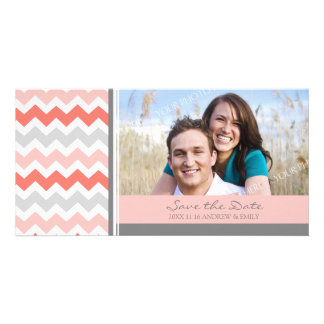 Coral Chevrons Save the Date Wedding Photo Cards
