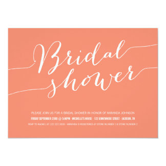 Coral Chic Bridal Shower Invitations