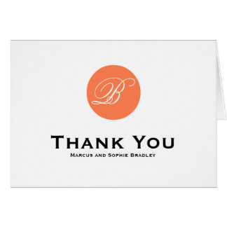 Coral Circle Script Formal Wedding Thank You Card